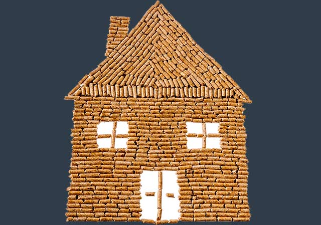 House made of wood pellets